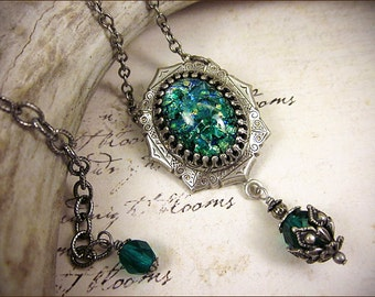 Teal Green Renaissance Necklace, Tudor Jewel Necklace, Tudor Costume, Medieval Wedding, Ren Faire, Renaissance Necklace, MedCol