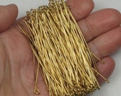 "Gold Plated Eye Pins 144 Or More 2.5"" 21 Gauge Long Slender Bendable Bright Shiny Gold Beading Pins Eyepins Pins With Eyelets Gold Loop Pins"