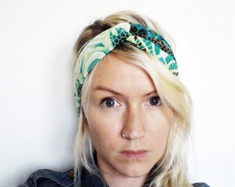 Turban Headband, Green Tribal Print