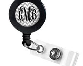 Monogram Badge Reel, Monogram ID Badge, Monogram Retractable Badge Reel, Personalized Badge Reel (397)