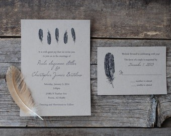 SPECIAL! - Feather Wedding Invitation Suite - Bohemian Rustic - Woodland Indie Boho Chic - Forest - Place Card - Thank You - Menu or Program