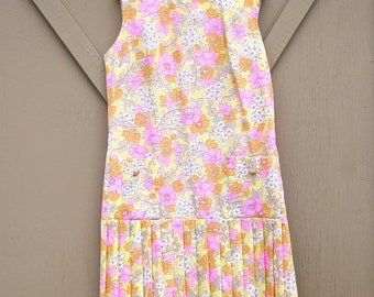 60s vintage Floral Drop Waist Pleated Sleeveless Dress