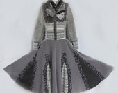 Gray black long sweater Coat, boho upcycled recycled couture. Embroidered jacket, Size Large, Ready