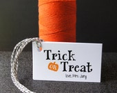 Trick or Treat with Pumpkin Personalized Halloween Tags . 2 x 3.5 inches
