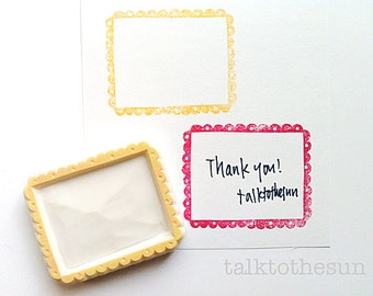scalloped gift tag stamp. hand carved label rubber stamp. doodle frame stamp. diy birthday mother's day. message card making, gift wrapping