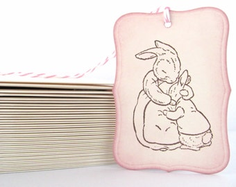 SET OF SIX  Bunny Hug Peter Rabbit Gift Hang Wish Tags for Baby Girl Shower - Hand Stamped and Vintaged in Victorian Rose
