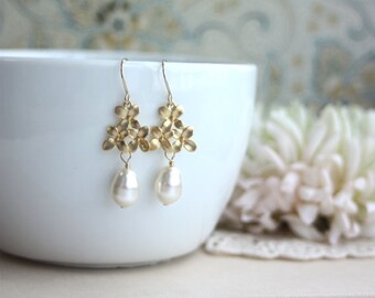 Bridesmaids Gifts. Gold Plated Cherry Blossoms, Ivory Pearl Pear Drop Dangle Earrings. Vintage Inspired. Bridesmaids Gift. Nature Inspired.