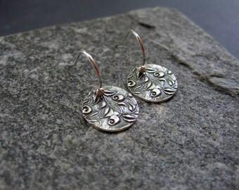 Sterling Silver Rustic Round Vine Earrings -  Rose Earrings -  Sterling Silver Rustic Earrings - Sterling Silver Artisan Earrings