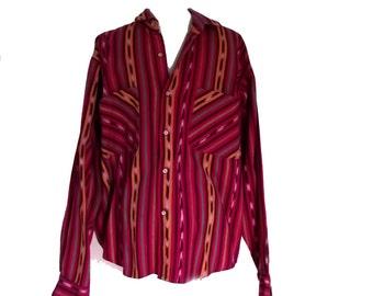 Mens Guatemalan Shirt / 70s Sombol Shirt / Ethnic Clothing Sz M-L 42 Inch Waist