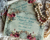 CUSTOM ORDER Deposit for Jessica Lattanzio...Vintage Wedding Save the Date Cards Handmade by avintageobsession on etsy