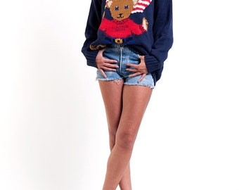 The Navy Blue American Teddy Bear Knit Pullover Sweater