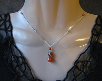 Carnelian Cluster Necklace- Turquoise, Apatite, Silver