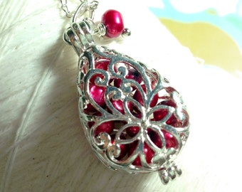 Worry Locket - red pearl teardrop locket / locket necklace / silver locket / pearl necklace / floating locket / memory locket
