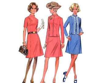 1970s Vintage Pattern McCalls 2602 Dress & Lined Zipper Front Jacket Band Collar Womens Sewing Pattern Bust 35 UNCUT
