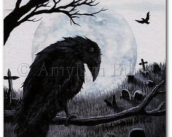 Black Cat Society - Watchful Eye of the Cemetery Warden Raven - ArT Prints by BiHrLe bcs25