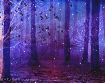 Purple Nature Photography, Surreal Haunting Purple Woodlands Birds Stars, Fantasy Purple Fairy Lights Trees, Purple Nature Woodlands Print
