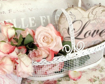 Roses Print, Mother's Day Gift, Shabby Chic Roses, Roses Love Print, Basket Roses Love Art Print, Romantic Roses Love Heart Valentine Photo