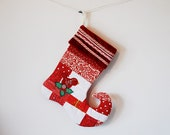 RESERVED - Patchwork Quilted Christmas Stocking in Red, White, and Green with Handmade Felt Bird and Holly Embellishments