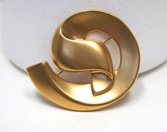 Brooch Vintage Pin Brooch Big Bold Art Deco Style Golden Vintage Jewelry Costume Large Swirl