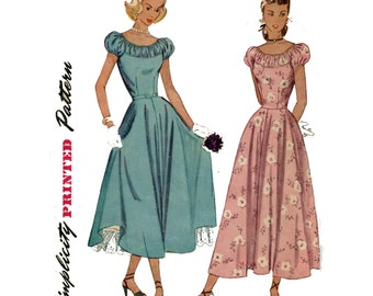 1940s Dress Pattern Evening Gown Puff Sleeve Scoop Neck Ballerina Gathered Yoke Peasant Dress Simplicity 2392 Bust 32 Vintage Sewing Pattern