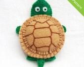 Pattern, felt finger puppet pattern, turtle finger puppet pattern
