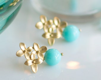 Turquoise earrings, bridesmaids gift, Gold stud earrings, Turquoise blue and gold earrings, Dangle drop earrings, Aqua earrings