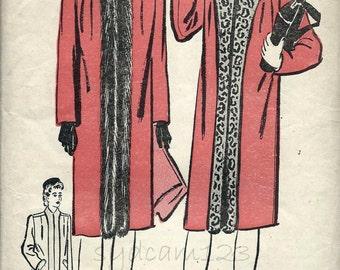 Vintage 1940s Fur Trimmed Coat Pattern Tuxedo Collar Knee Length Coat 1942 Advance 3129 Bust 36 UNCUT