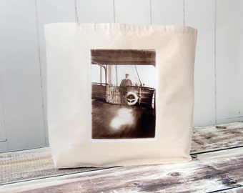 Ghostly Passenger - Vintage Photograph - The Big Cozy Tote - Nautical - Travel