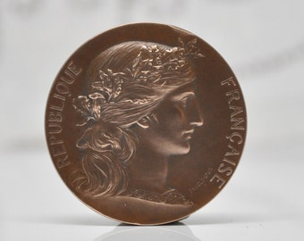 Antique French Art Medal Bronze 19th Century Republique Française Bordeaux