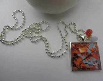 Autumn Leaves Necklace Blue Orange Glass Photo Pendant Boho Free Shipping