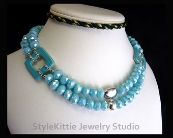 Ice Blue Crystal, 925 Sterling Silver, Double Strand Necklace, Faceted Rondelles, Light Turquoise Blue, Porcelain Squares, Toggle, Jewelry