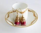 Red Ethnic Earrings - Gold filigree earrings, ethnic red and gold earrings, red satin earring gift for herValentine