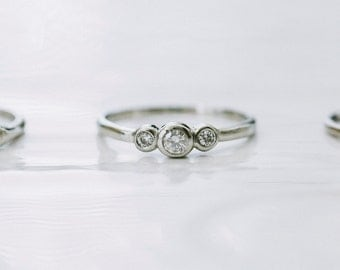 Petite Three Moissanite Ring in Silver
