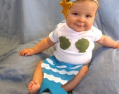 Baby Mermaid Costume - last day to order is 10/9 -  turquoise blue green - Baby Halloween Costume - Starfish - ocean - newborn photo prop