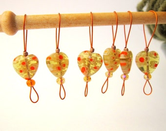 Bead Knitting Stitch Markers - Set of 7 Handmade Knitting Markers - Olive and Orange Puff Hearts
