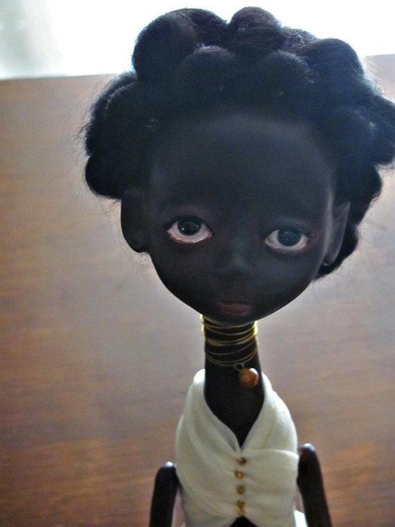 ON SALE  Jointed sculpted Art doll - Black Simone