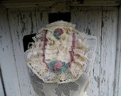 jabot,victorian, ruffle neck piece,shabby chic, vintage style,jane austen,layers and frills, roses,lace jabot,vampire,wedding,mori girl,love - radusport