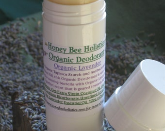 Organic Lavender Deodorant 2 oz Size - Corn Starch and Zinc Free - Only Organic Essential Oils Used