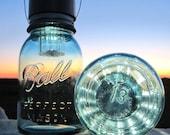 Lucky 13 Mason Jar Lanterns 2 Hanging Rare Number 13 Antique Blue Ball Jars, Spooky Nights Mason Jar Solar Lighting