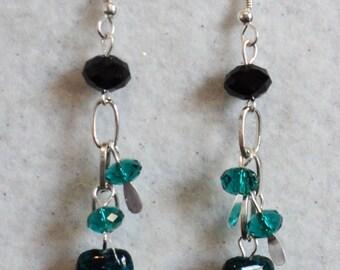 Chrysocolla Gemstone Earrings, Swarvoski Crystal, Dangle Earrings,Green and Black, Spring Earrings, Summer Earrings, Traditional Earrings