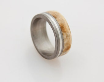 Titanium Ring Man Ring mens wedding band with silver stripe and mulberry wood titanium wedding band