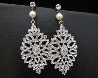Bridal Earrings, pearl Rhinestone earrings, Wedding Earrings, Chandeliers Earrings, swarovski pearl earrings, statement earrings, MARINA