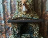 "OOAK Fieldstone Fireplace by Silky Sienna's Studio, Wood Mantle, Aged and burned, 8""tx4.5""w"