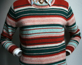 1970's Pandora colorful striped color block earth toned long sleeved wool blend sweater jumper - women's sz M/L