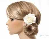 Cream White Rose Hair Clip / Brooch / Corsage, Petite Real Touch Rose Fascinator