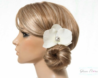 Orchid Hair Clip in Cream White/ Light Ivory with Pearls or Rhinestone Crystals - Real Touch Phalaenopsis Orchid brooch pin corsage