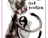 Us Weirdos - Card - gotta stick together love friend friendship got your back compassion trust weird nerd geek strange unique quirky gift