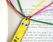 Personalized Kids Bookmark Stocking Stuffer Childrens Back to School Class Gift Custom Name Yellow Book Lover Book Marker
