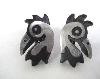 Early Los Castillo Onix Negro Rooster Earrings