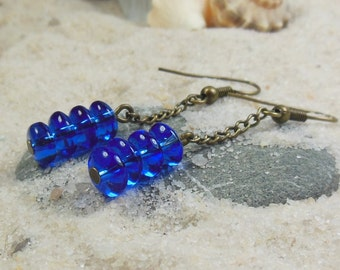 cobalt blue , beaded glass , dangle chain earrings - antique brass / gold / handmade earrings / women / jewelry / simple earrings / girl